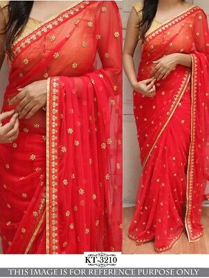 Indian Bollywood Saree Party Wear Indian Georgette Ethnic Women Sari