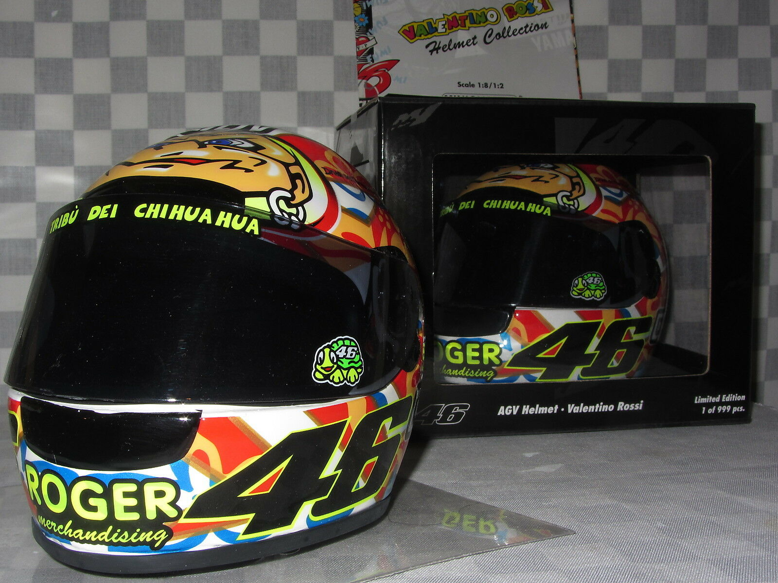 1 2 MINICHAMPS AGV AGV AGV HELLMET ROSSI GP 500 MUGELLO 2001 LTD EDITION 372 010076 468576