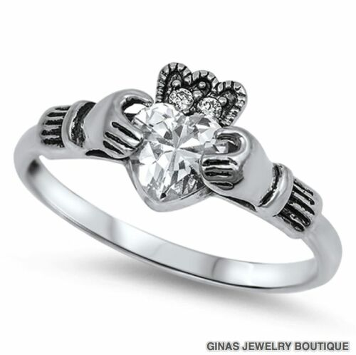 CLADDAGH RING Hands APRIL BIRTHSTONE CELTIC,4,5,6,7,8,9,925 Sterling Silver NEW