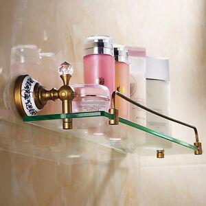Antique Shower Caddy Corner Shelf Wall Mounted Bathroom Shelves Glass Holder NEW