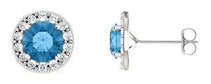 Sterling Silver 1.80 Carat 6mm Genuine Blue Topaz Halo Stud Earrings