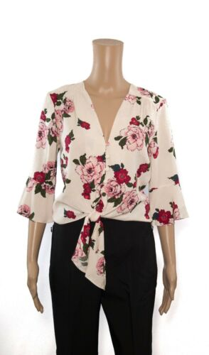 ex Red Herring Floral Flute Sleeve Button Through Self Tie Crop Top