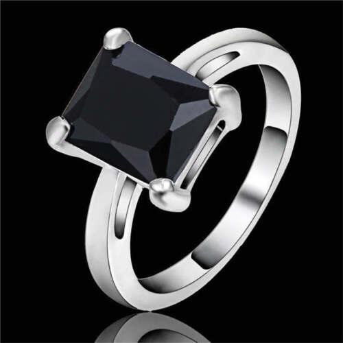 Men/'s Fashion Jewelry Black Sapphire Cut white Rhodium Plated Wedding Ring Size7