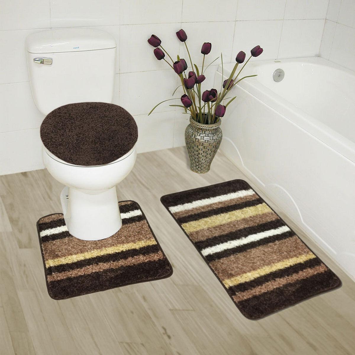 Abby 3 Piece Bathroom Rug Set Bath Rug Contour Rug Lid