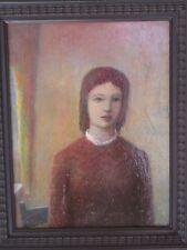 Young Girl Near a Window Oil Painting 1940s-Gar Sparks-Listed N.J. Artist