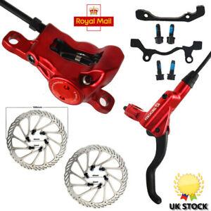 Bicycle-Hydraulic-Disc-Brake-Road-Bike-Levers-Front-Rear-Set-160mm-Brake-Rotors
