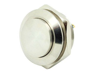 19mm Momentary Stainless Steel PushButton Switch Raised Top Shallow Depth MS19PE