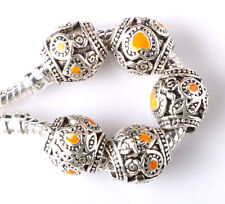 5pcs Tibetan silver love lampwork spacer beads fit Charm European Bracelet #C232