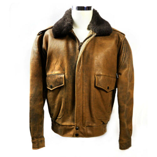 Vintage 80s Brown Distressed Leather Bomber Flight