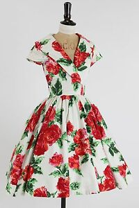 Vintage-50s-style-Pinup-Couture-PUG-Birdie-dress-XS-UK-6-8-rose-floral-print