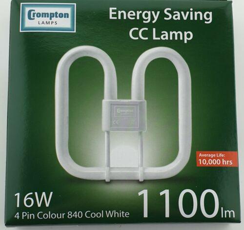 16W 4 pin Cool White 2D Crompton cc 4000k 840 16 Watt PLQ CFL SQUARE
