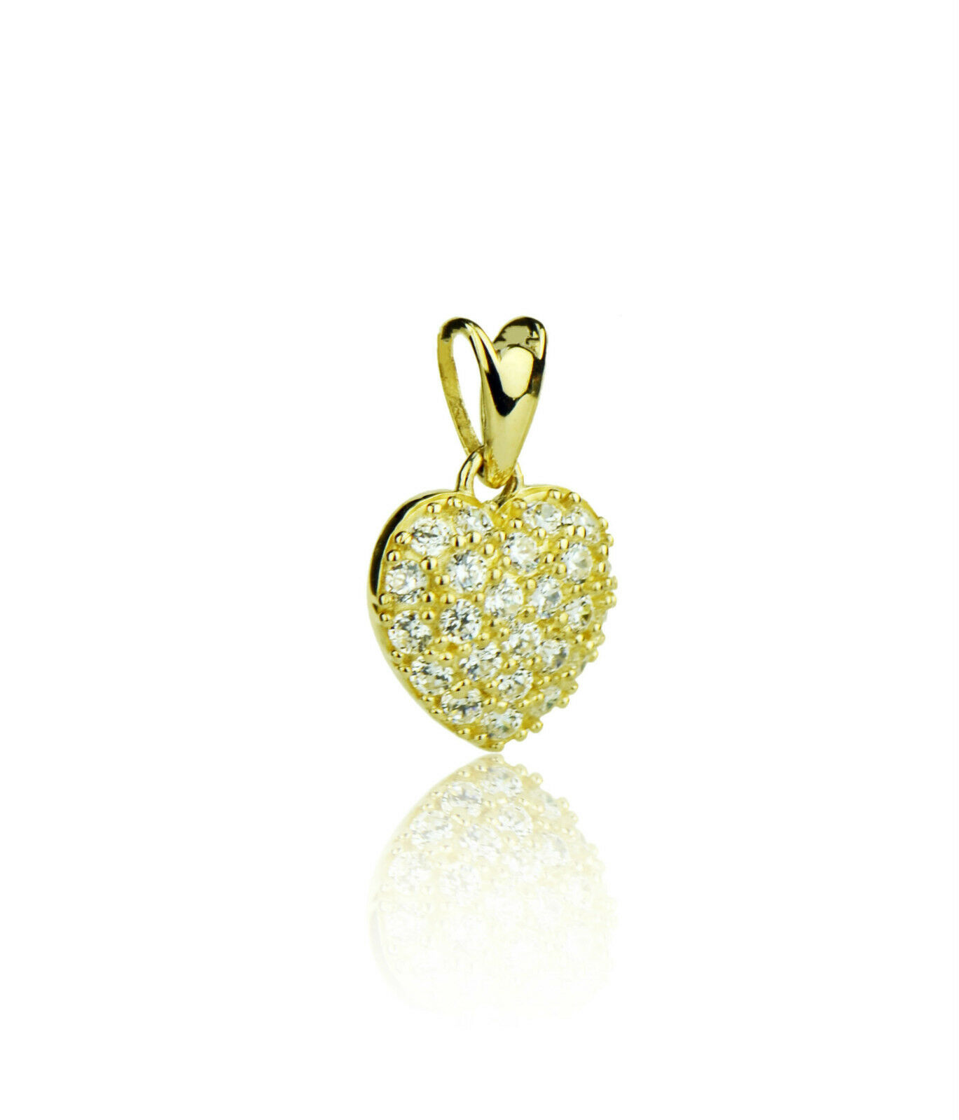 14k Yellow or White gold Cz Heart Pendant