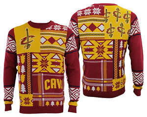 buy online 19ae8 3ab93 Details about Forever Collectibles NBA Men's Cleveland Cavaliers Patches  Ugly Sweater