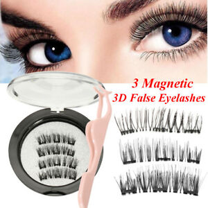 a260ff96779 Image is loading 3D-Triple-Magnetic-False-Eyelashes-No-Glue-Handmade-