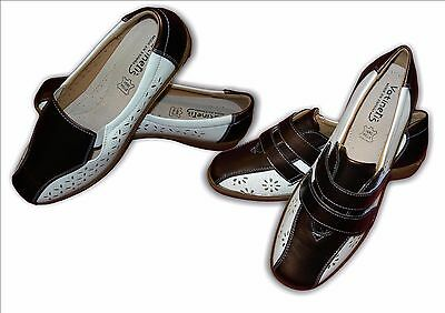 Señoras Wide Fit Plano Slip On Vel Zapatos 325 326 Blanco Bronce Tamaños 3-8