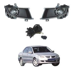Mitsubishi 04-05 Lancer Clear Bumper Fog Lights w//Bulbs+Wire+Switch Full Set