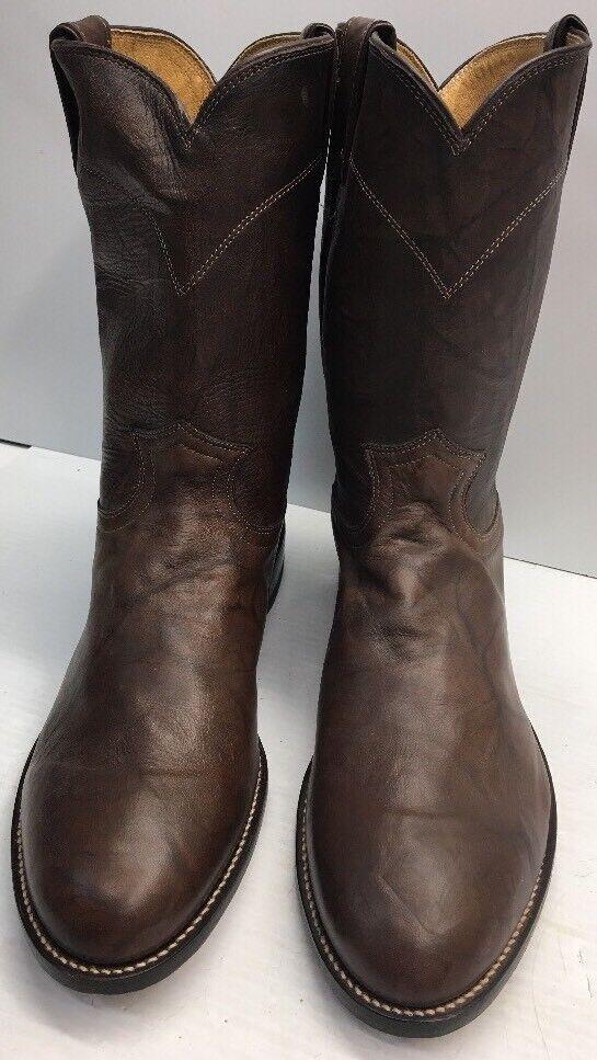 Justin Men's Size ( 11.5 EE ) Jackson Leather Roper Boot - Dark Brown 3162