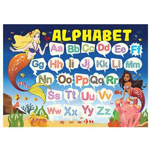 Kids Educational Wall Chart Abc Alphabet Poster Dinosaurs Theme Classroom