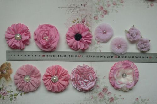 13 Style Choice Each AF PINK Fabric Flowers SINGLE approx 30-95mm Across