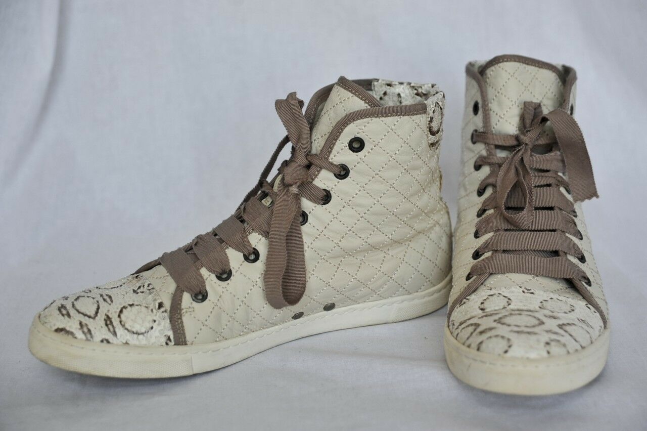 LANVIN Womens Quilted LEATHER+WATERSNAKE Cap-Toe High Top Sneaker Cream 11-41