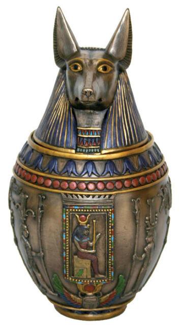 Anubis Egyptian Heiroglyphic Canopic Jar Statue Sculpture - VALENTINE'S GIFT