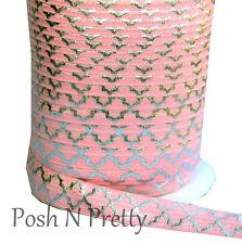Sparkle 5 Yards Foil Print Fold Over Elastic- Quatrefoil Pink Stretchy Elastic!