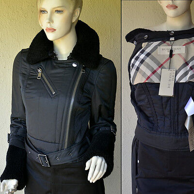 BURBERRY New Womens Motorcycle Jacket sz 42 - 8 Black Shearling $850