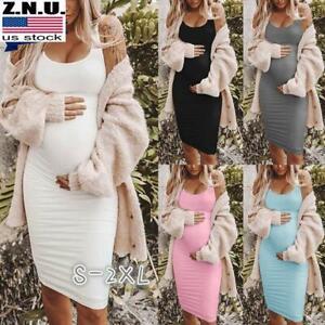 Summer Maternity Women Midi Dress Pregnant Pregnancy Clothing Bodycon Sundress Ebay