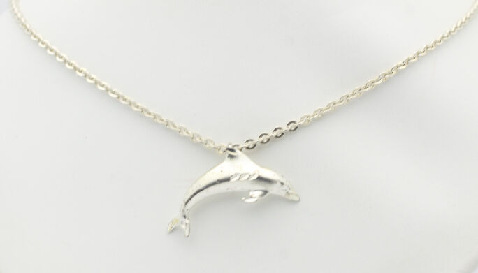 Cute Vintage dolphin Sterling Silver 925 Italy pendant necklace earrings set Beach fish vacation yacht nautical statement rare dainty small