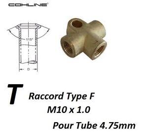 RACCORD EN T FILETE M10 x 1 POUR CONDUITE DE FREIN 4.75mm pour Citroën