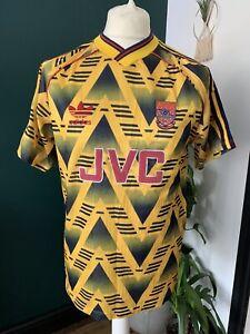 "Arsenal Adidas Away Shirt 1991-93 Bruised Banana ORIGINAL 38-40"" JVC Yellow"