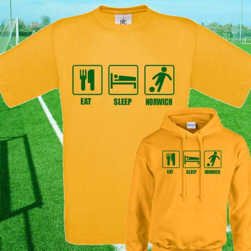 Comer Norwich Fútbol camiseta//Sudadera Con Capucha-Niños Adultos Top Dormir