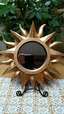 "12"" Sunshine WALL MIRROR - Matte Gold Painted Resin SUN"