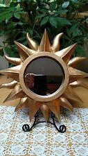 "12"" Sunshine WALL MIRROR - Matte Gold Painted Resin SUN"