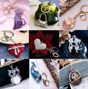 Women-Lady-Crystals-Diamante-Heart-Handbag-Bag-Charm-Keyring-Keychain-For-Women