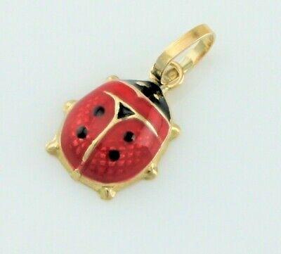 Gut Ausgebildete New 9ct Yellow Gold Enamel Ladybird Charm / Pendant
