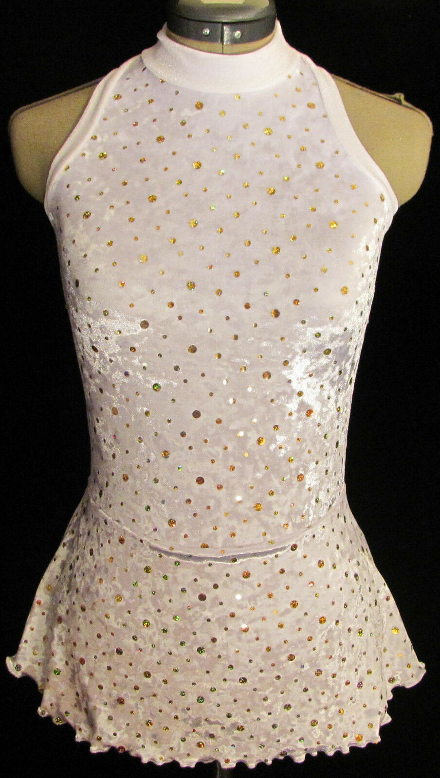 WHITE gold SPARKLE Ice Figure Skating Competition Dress GIRLS MEDIUM 8   9   10