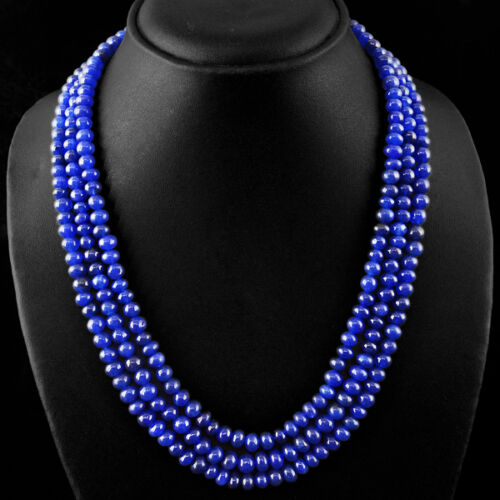 BUYERS TOP FAVOURITE 417.65 CTS EARTH MINED 3 LINE BLUE SAPPHIRE BEADS NECKLACE