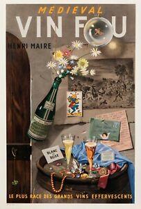Original-Vintage-Poster-Grimault-VIN-FOU-vin-champagne-Angel-1955