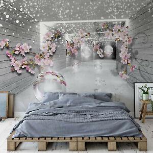 Details zu Tapete Vlies Fototapete für Wohnzimmer Abstrakt fallende Blumen  im Tunnel Kugeln