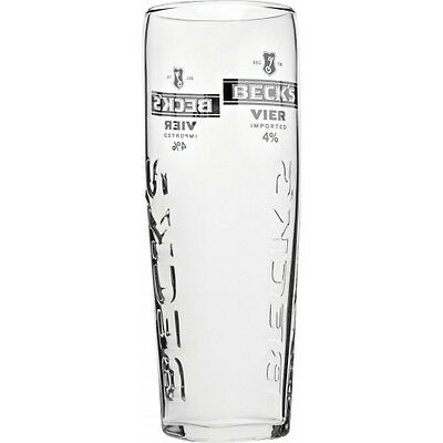 Official Becks Vier Pint Glasses 20oz With Widget - Toughened Nucleated Glass