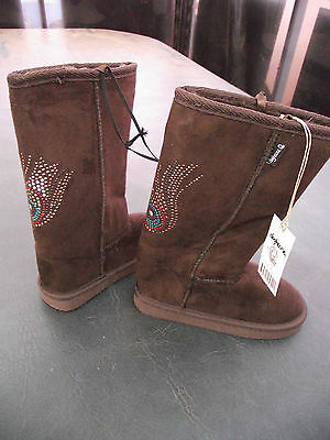 BNWT Little Girls Sz 12 Rivers Doghouse Brand Short Choc Brown Slipper Boots