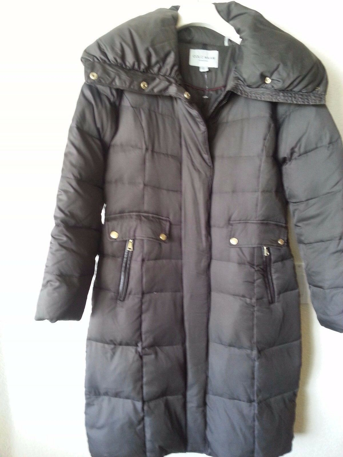 NEW COLE HAAN SIGNATURE LONG DOWN PUFFER COAT OVERSIZED COLLAR BROWN