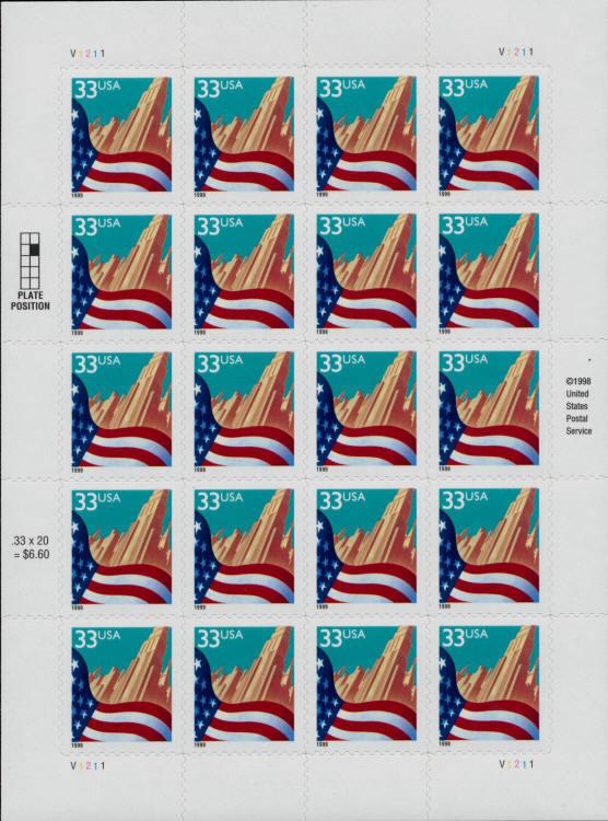 1999 33c Flag over City Black Date, SA, Sheet of 20 Sco