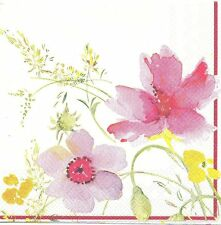 2 Serviettes en papier Fleur pastel Anémone Coquelicot - Paper Napkins Flowers