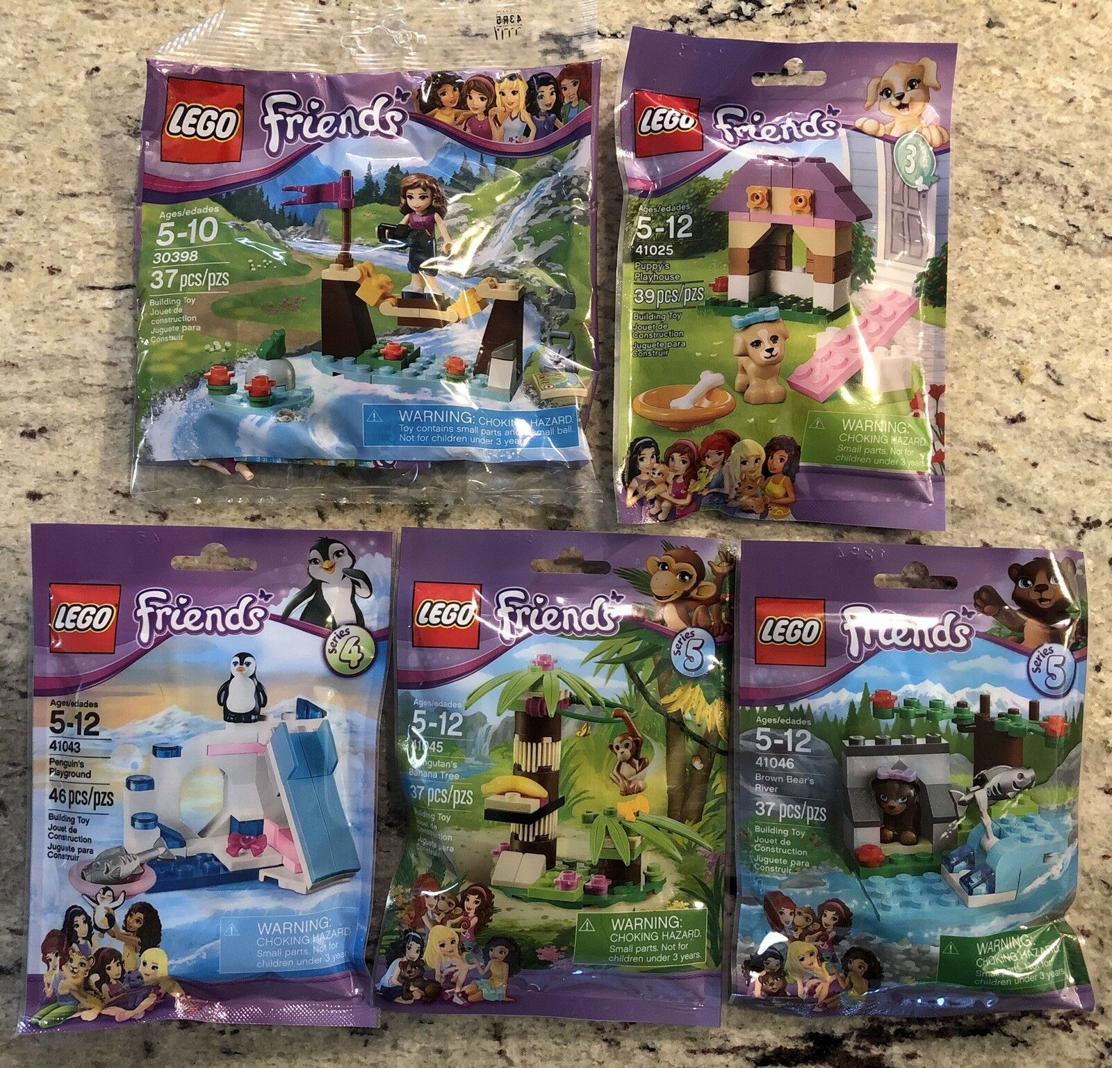 LEGO Friends Lot of 5 New Sealed Poly Bags  30398, 41025, 41043, 41045, 41046