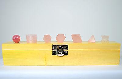 7pcs Rose Quartz Crystal Sacred Geometry Set w/ Wooden Box Platonic Solids 1 SET