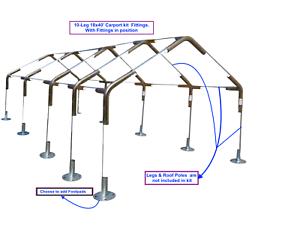 18x40 Canopy Fittings Kit 1 3 8 System No Poles Legs Carport