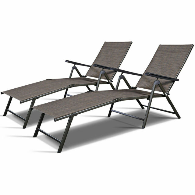 Outdoor Lounge Chair Tan Chaise Adjustable Lounger Pool Yard Furniture Set Of 2 For Sale Online Ebay
