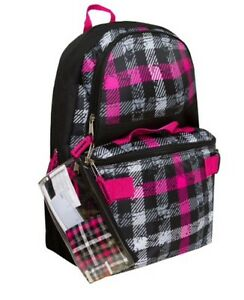 Image Is Loading 17 034 School Pink Black Backpack Lunch Box